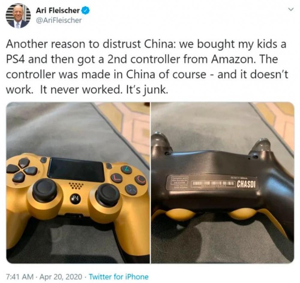 Ein weiterer Grund, China nicht zu vertrauen: Wir haben eine PS4 für unsere Kinder gekauft und dann einen zweiten Controller bei Amazon bestellt. Natürlich wurde das Gamepad in China hergestellt - und es funktioniert nicht. Er hat nie gearbeitet. Das ist Müll.