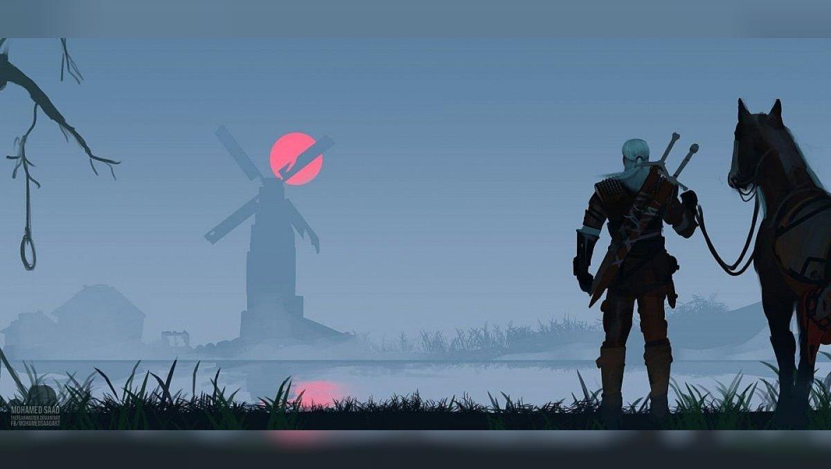 Der Künstler malte Geralt mit Roach bei Sonnenuntergang.  The Witcher 3 mag