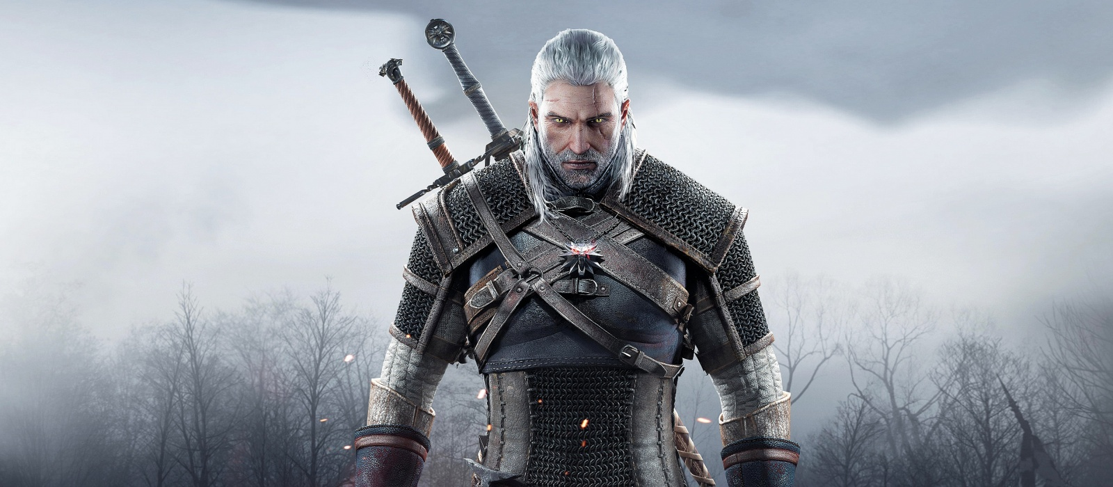 Der Künstler malte Geralt mit Roach bei Sonnenuntergang.  The Witcher 3 Like