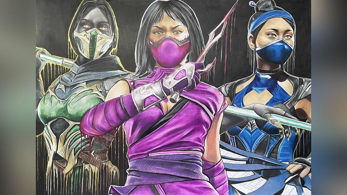 Ed Boone hat eine Zeichnung mit Mädchen von Mortal Kombat gezeigt - die Erstellung hat 50 Stunden gedauert