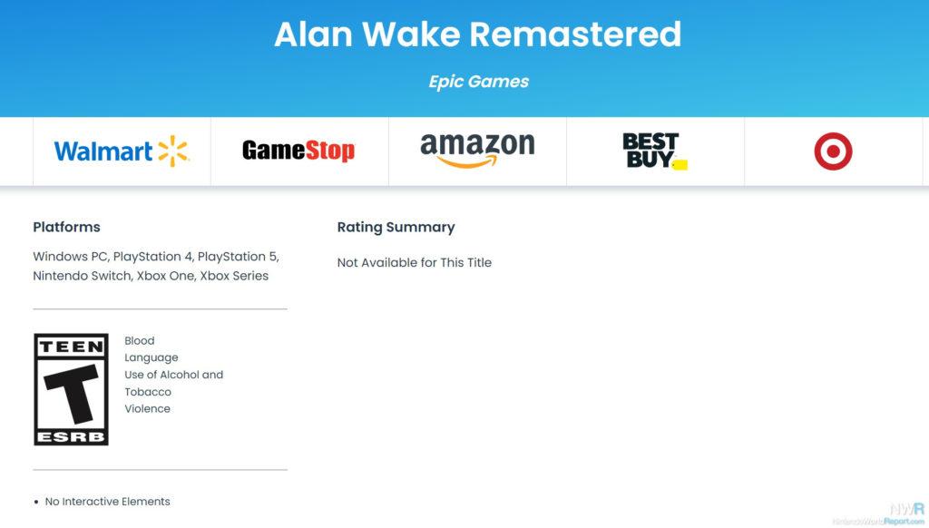 Alan Wake Remastered erhält ESRB-Rating für Switch